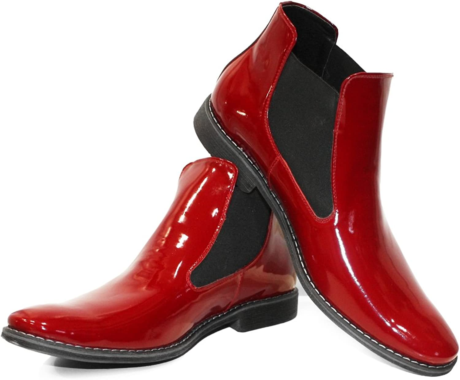 Peppeshoes Modello Ruby - Handmade Italian Leather Mens color Red Ankle Chelsea Boots - Cowhide Patent Leather - Slip-On