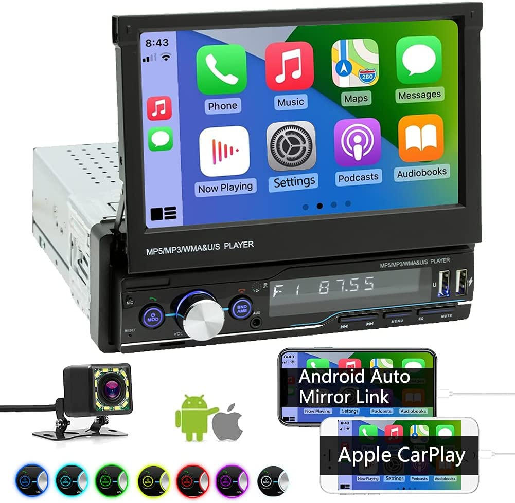 Single Din Car Stereo Compatible with Apple Carplay and Android Auto, 7 Inch Flip Out Touchscreen Car Radio - Mirror Link, Backup Camera, Bluetooth, FM/AM, USB/TF/AUX Port, Hands-Free Calling