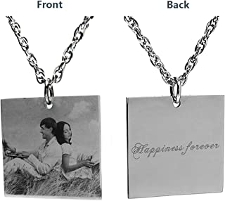 Civbalen Custom Photo Tag Engraved Necklace Personalized Message Pendant Customized Birthday for Men/Women/Girls/Boys