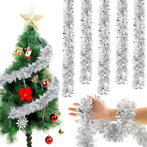 WILLBOND 6,6 Füße Weihnachten Lametta Girlande Schneebedeckt Lametta Twist Girlande Klassische Glänzende Weihnachtsbaum Schmuck für Party Hängende Decke Dekorationen (Silber, 5)