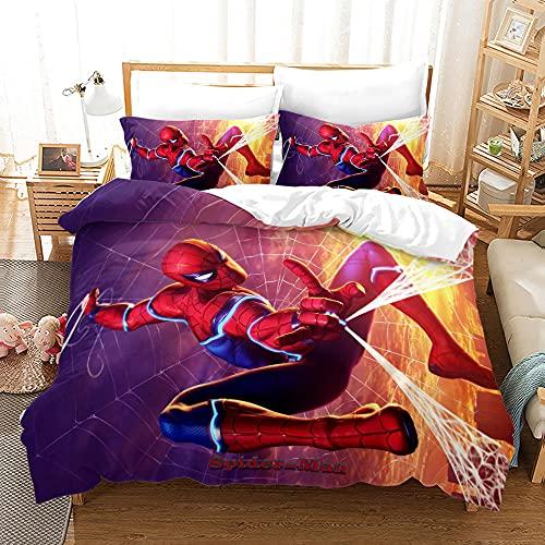 Ropa Cama Avengers Super Heroe Spiderman Tejido De Poliéster Suave Y Cómodo Funda Nordica 220X240 Cm con 2 Fundas De Almohada 40X70 Cm Ropa De Cama Juego De 3 Piezas