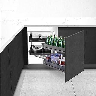 Boîte de Rangement coulissante à Angle Mort pour armoires de Cuisine, Panier à Tirer en métal Noir, Convient au Meuble de...