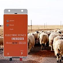Haomingxing Cerco eléctrico Solar,Animales Controlador de cercado eléctrico,Energizador Cargador Controlador, de Pulso de Alto Voltaje Granja de Animales Cerco eléctrico Pastor Cría 10KM XSD270B