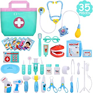 NextX Doctor Kit, 35 Pieces Pretend Play Toys Kids Electronic Stethoscope Dentist Medical Kit Gifts Boy & Girl Educational Learing Roleplay, Blue