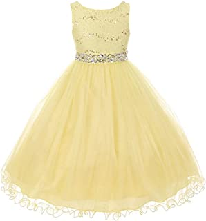 Glitters Sequined Bodice Double Layer Tulle Rhinestones Sash Flower Girl Dress