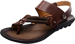 Zoulee Men's Leather Rubber Sandals Beach Sandals