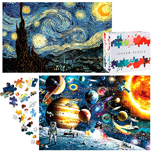 HOMOFY Puzzles for Adults(1000Pcs x 2) Jigsaw Puzzles for Adults Large Jigsaw Puzzle Space&Starry Night 19.7'x29.5' with 2 Colorful Poster Challenging Puzzle Toy Gift for Kids Age 3+