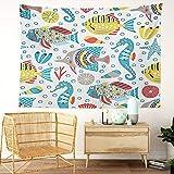 Y·JIANG Tapiz de la vida marina, diseño de peces tropicales de coral con dibujos animados marinos, caballito de mar, para el hogar, dormitorio, 203 x 152 cm