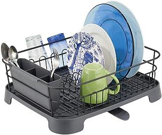 comprar comparacion mDesign Escurreplatos de metal y plástico – Compacto escurridor de platos con bandeja de goteo y desagüe giratorio – Rejil...