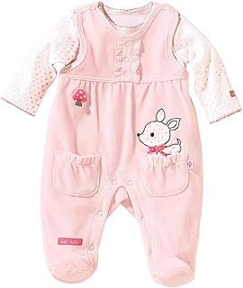 Bornino Strampler-Set REH 2-TLG - Baby-Overall für Mädchen aus weichem Nicki - mit Druckknöpfen in Schulter- & Schrittbereich - rosa