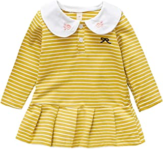 Xifamniy Infant Girls Long Sleeve Skirt Embroidery Rabbit Collar Striped A-Line Dress Yellow