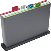 Joseph Joseph Index Cutting Board Set with Storage Case Plastic Color Coded Dishwasher-Safe, Large, Gray (discontinued model)