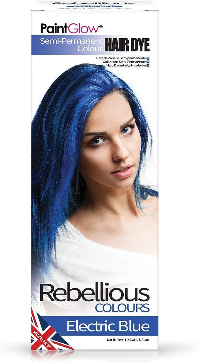 Paintglow - Rebellious Colours - Tinte de Pelo Semi-Permanente 70 ml (Electric Blue) - 1 unidad