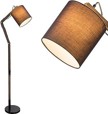Lampadaire moderne de salon gris avec abat-jour en tissu de 21 cm (réglable, lampe de salon, rétro, hauteur 157 cm)