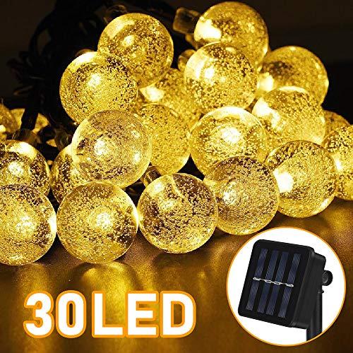 Sylanda LED Solar Lichterkette 6.5M 30 LEDs Kugel 8 Modi IP65 Wasserdicht Lichterkette mit Lichtsensor, Kristallbälle Beleuchtung für Außen, Indoor Gärten, Rasen, Weihnachten Party (Warmweiß)