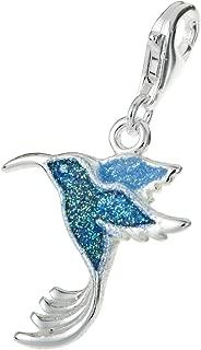 Dreambell 925 Sterling Silver Hummingbird Bird Blue Enamel Glitter Dangle Clasp European Lobster Clip On Charm