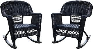 Jeco , Set of 2 Wicker Rocker Chairs, Black