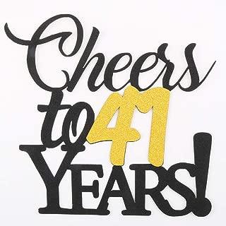 LVEUD Happy Birthday Cake Topper Black Font Golden Numbers Cheers to 41 Years Happy Birthday Cake Topper -Wedding,Anniversary,Birthday Party Decorations (41th)