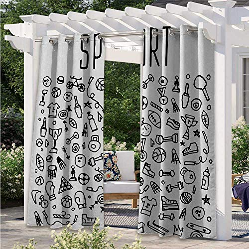 Adorise Outdoor Patio Curtain Hand Drawn Sport and Fitness Elements Gymnastics Icons Cute Cartoon Style Light Filtering Outdoor Curtains Provid Cool Shade and Privacy Black White W120 x L96 Inch