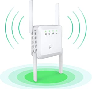 1200Mbps WiFi Extender Signal Booster for Home - Wireless Booster 2.4G and 5G Dual Band WiFi Extender with 2 Ethernet Ports,4 Antennas 360 °Full Coverage and Long Range