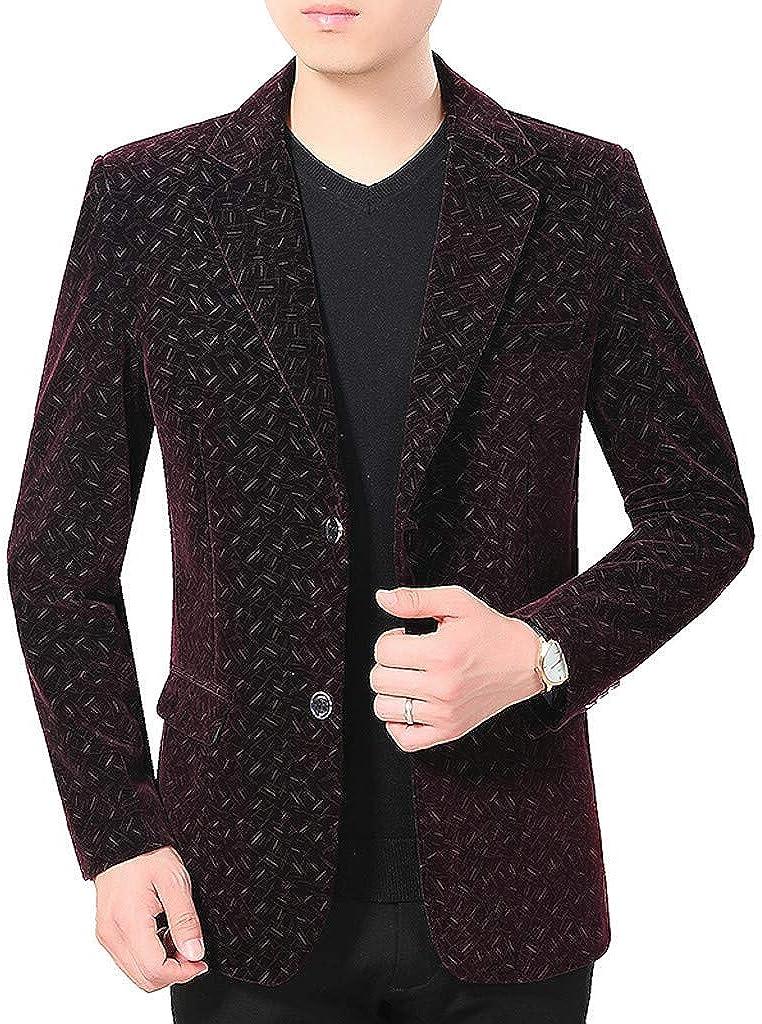 Casual Men's Slim sold out Blazer Winter Lapel Plaid Ranking TOP5 Corduroy Soft