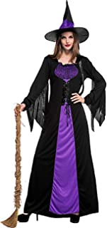 Colorful House Women Wicked Witch Costume, Purple Long Sorceress Classic Dress