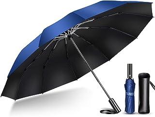 【2020年強化版 12本骨】 折りたたみ傘 自動開閉 軽量 折り畳み傘 メンズ 大きい 晴雨兼用 台風対応 梅雨対策 大きい 超撥水 おりたたみ傘 210T高強度グラスファイバー 収納ポーチ付き