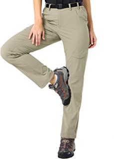 MIER Women's Quick Dry Hiking Pants Outdoor Stretchy Tactical Cargo Pants with 6 Pockets, Side Elastic Waist, Water Resistant