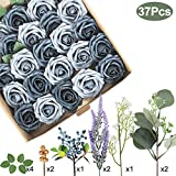 Appok Artificial Roses Flowers Foam Rose - 37 Pack Dusty Blue Fake Roses Real Looking Flower Combo with Stem for DIY Wedding Bouquets, Centerpieces, Party, Baby Shower, Home Decorations