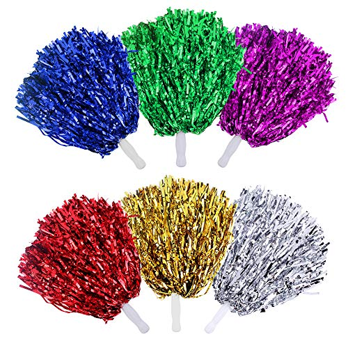 Reton Cheerleader-Pompons, 24 Stück, 1 Dutzend Griff, Metallic-Folie, Blumenbänder, Cheerleading-Pompons für Kinder, Ball, Tanz, Sport, Trainer, Spiel, Kleid, Party, Fancy, gemischt