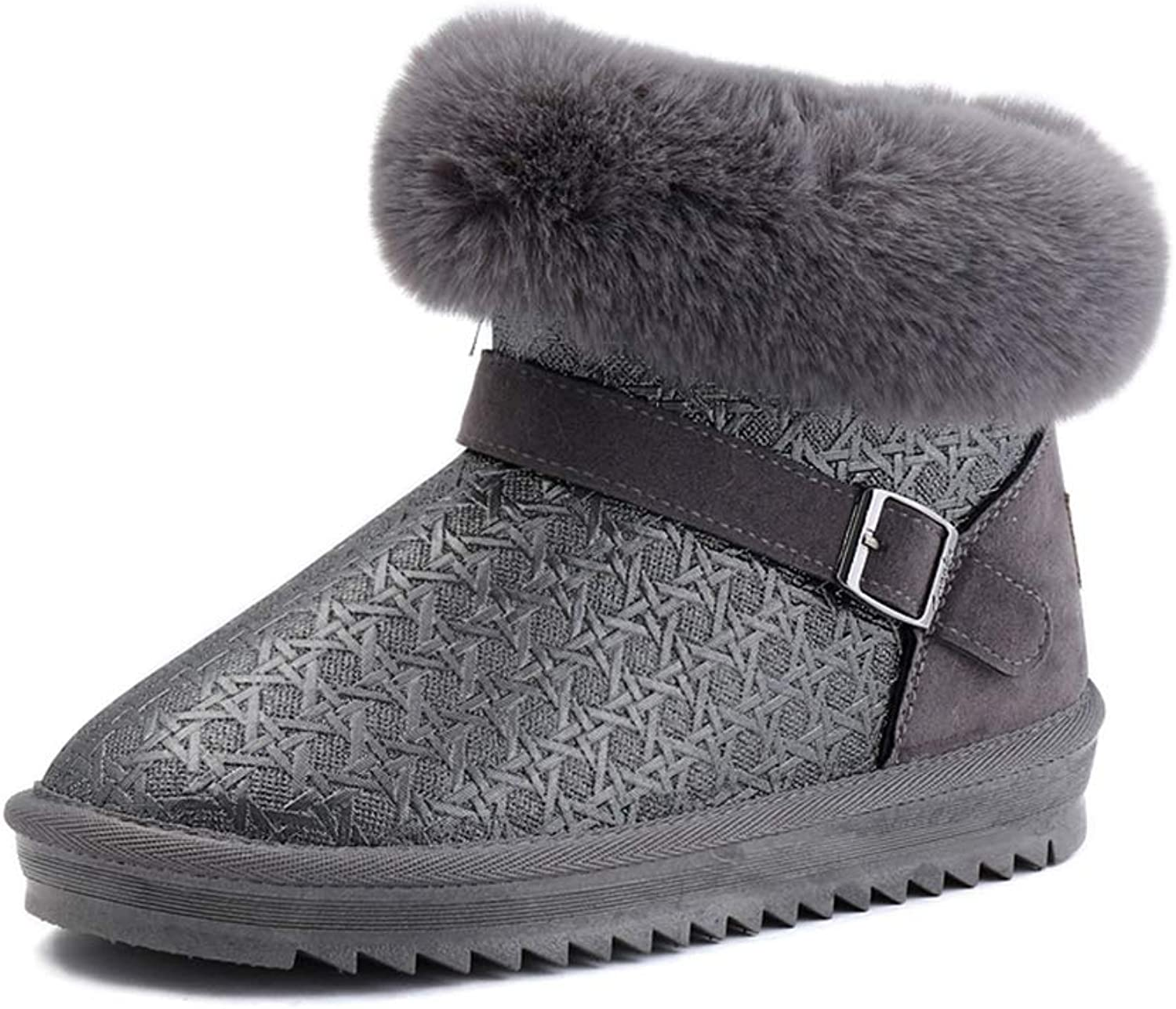 A-LING Women's Slip On Woven Pattern Short Booties Casual Flat Snow Boots