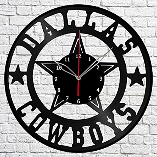 Vinyl Clock Dallas Cowboys Vinyl Record Wall Clock Fan Art Handmade Decor Original Gift Unique Decorative Black 12 30 Cm