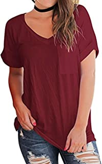 Sturrly Womens Solid Blouse Short Sleeve V Neck T Shirts Casual Tops with Pockets