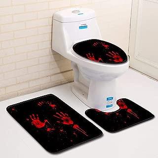 Halloween Bath Rug Sets 3 Piece Bloody Handprint Bathroom Toilet Three Piece Floor Mat Door Carpet