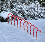 DuraCasa Candy Cane Pathway Marker Lights Outdoor Christmas Decorations - Set of 10 Candy Cane Christmas Lights for The Yard - Indoor/Outdoor Holiday Lawn Decor Lights