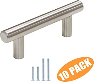 Probrico Euro Style T Bar Cabinet Pulls Stainless Steel Kitchen Handles Bathroom Cupboard Knobs 2.5 Inch Hole Spacing 10 Packs