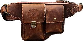 Leather Waist Pack Bag Mens Skull Biker Casual Fanny Pouch Bag