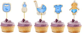 Newbested 60 Count Boy Baby Shower Cupcake Toppers,Birthday Cake Decoration Picks