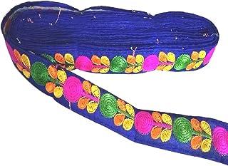 Yuktha Eternals Spitzenborte mit Blumenmuster, für Kleider/Sarees/Lehenga/Blusen und Kunst- und Bastelarbeiten, 2,5 cm x 9,8 m, Tintenblau