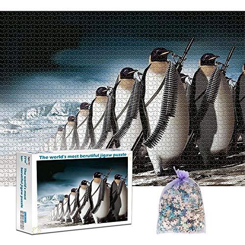 TBQG 1000 Stück Puzzle Erwachsene Puzzle Military Penguin Puzzle für Erwachsene und Kinder Erwachsene Puzzle (29.5'x 19.7')