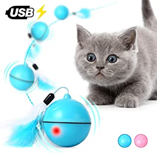 猫 おもちゃ 電動 猫ボール 自動回転 光るおもちゃ USB充電式 猫じゃらし 交換羽付き ストレス解消 ブルー
