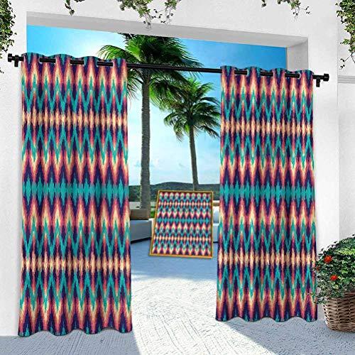 Aishare Store - Cortinas de pérgola para exteriores, azteca, zigzag gráfico artístico, 254 x 241 cm, para puertas correderas de vidrio, terraza, pabellón, pasillo, porche (1 panel)