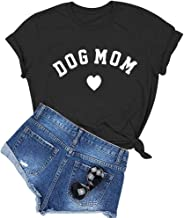 BLACKOO Women's Dog Mom Graphic Cute T Shirt Funny Cotton Tops