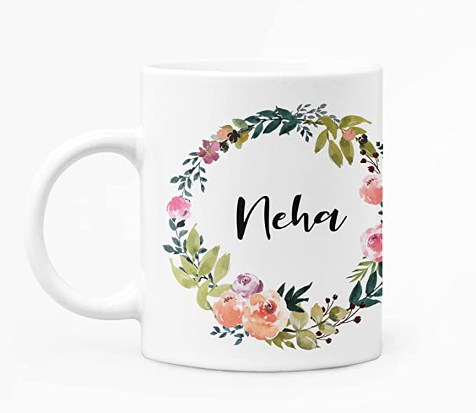 RINKON NEHA Floral Round Name with Text Printed Cup Best Gift for Name NEHA