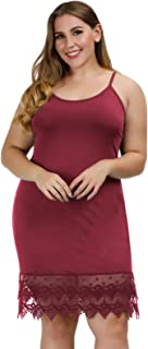 Hanna Nikole Women's Plus Size Adjustable Spaghetti Strap Slip Camisole Dress Extender with Lace Trim