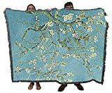 Almond Blossoms - Vincent Van Gogh - Cotton Woven Blanket Throw - Made in The USA (72x54)