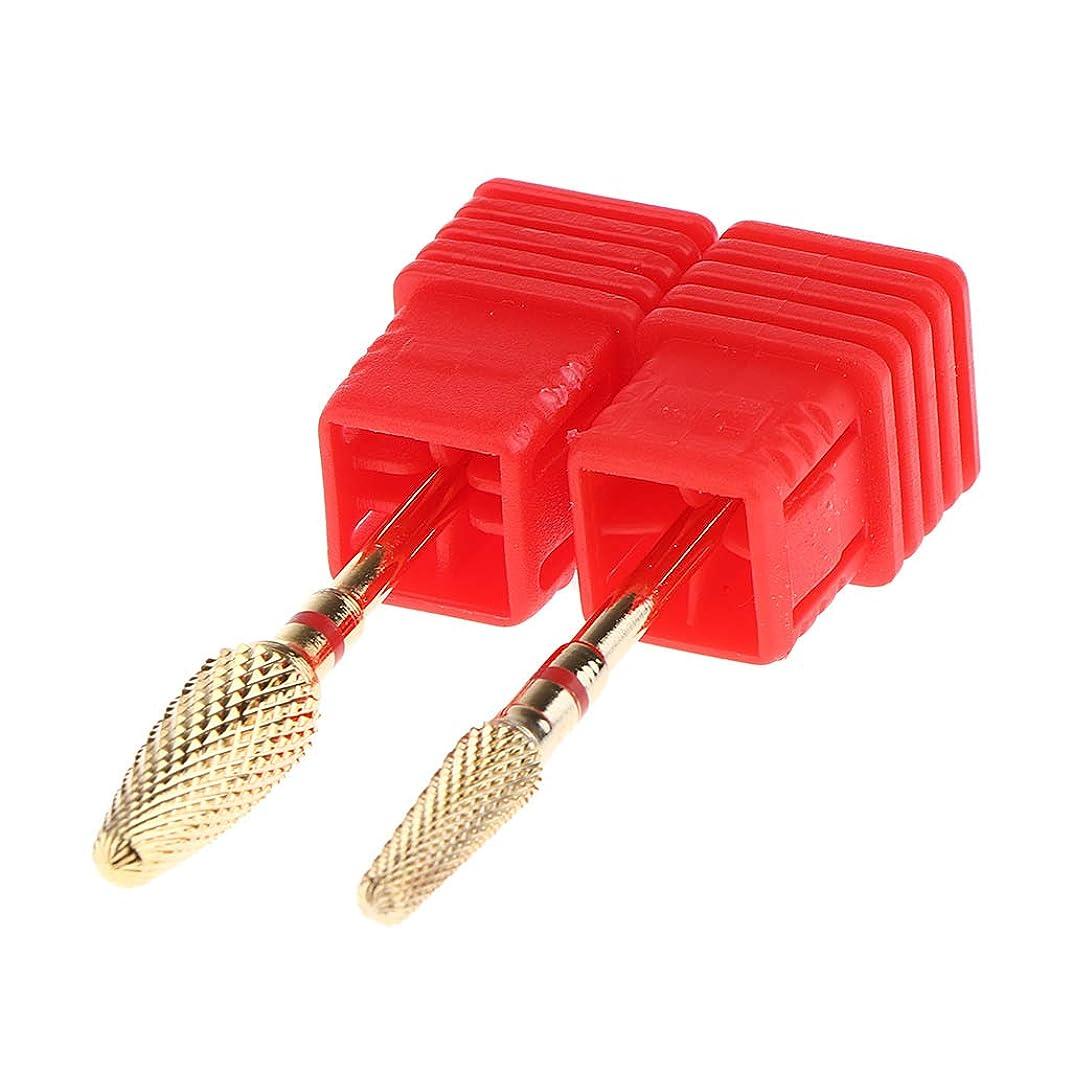 F Fityle 全3カラー ネイルツール ネイルドリル ビット ネイルポリッシュグ ツール 2本パック - 赤