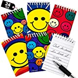 Mini Spiral Notepads - (Pack of 24) 2.4' x 3.6 inch Assorted Cute Smile Face Memo Pad Notebooks, Pocket Size Emoji Party Favors for Kids, Goodie Bags, Stocking Stuffers, Gift or Prize