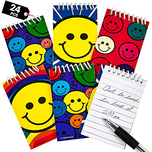 Mini Spiral Notepads - (Pack of 24) 2.4' x 3.6 inches Assorted Cute Smile Face Memo Pad Notebooks, Pocket Size Emoji Party Favors for Goodie Bags, Stocking Stuffers, Gift or Prize by Bedwina