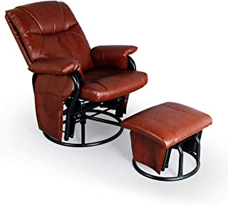 AODAILIHB Glider Chairs Rocking Chair with Ottoman 360° Swivel Chair PU Leather Upholstered Armchair Lounge Chair Sliding Chair Set (Brown)
